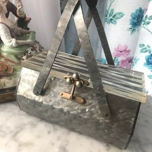 Handbags - FIRM PRICE 50's Lucite Silver Pearlized Box Purse